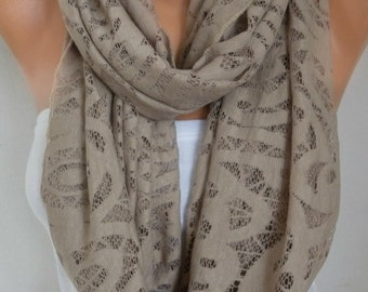 Beige Lace Infinity Scarf, Fall Summer Scarf, Cowl Circle Loop Oversized Gift Ideas For Her Women Fashion Accessories