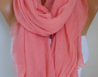 Coral Cotton Scarf, Soft, Shawl, Summer Scarf,Wedding Scarf Cowl Oversized Wrap Gift Ideas For Her, Women Fashion Accessories,Women Scarves