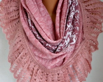 Pink Knitted Scarf Shawl Cowl Lace Oversized Bridesmaid Bridal Accessories Gift Ideas For Her Women Fashion Accessories Mother Day Gift