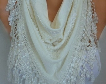 Creamy White Knitted Lace Scarf, Shawl,Wedding Scarf, Cowl, Bridesmaid Gift,Bridal Scarf Gift Ideas For Her Women Fashion Accessories