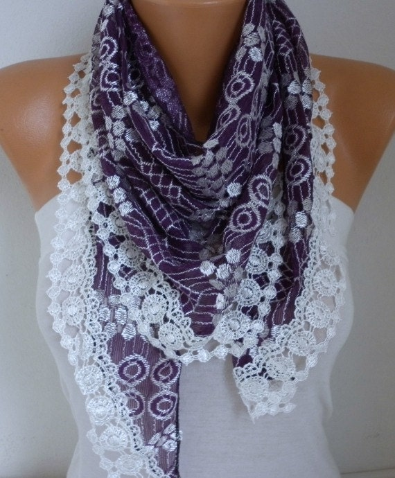 New Year's Fashion Purple Tulle Scarf Valentine's Gift Shawl Cowl Scarf Necklace Gift Ideas For Her Women Fashion Accessories