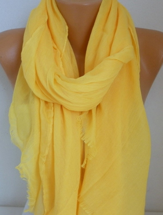Yellow Cotton Scarf, Soft, Fall Summer ,Shawl, Cowl, Oversize Wrap, Gift Ideas For Her, Women Fashion Accessories, Teacher Gift Scarves