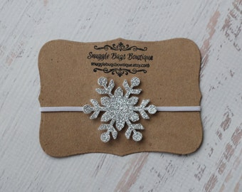 Glitter Snowflake Headband in Silver