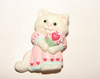 Vintage Hallmark Valentine Cat Kitten Pin, Valentine's Day, Collectible Hallmark Lapel Pin