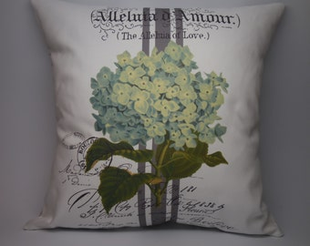 French Hydrangea Pillow, Rustic French Farmhouse, Shabby Chic, INSERT INCLUDED