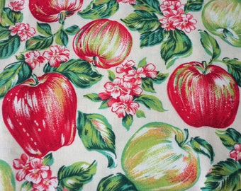 Apples Fabric Beautiful red and green apples with lots of metallic accents Fat Quarter New BTFQ