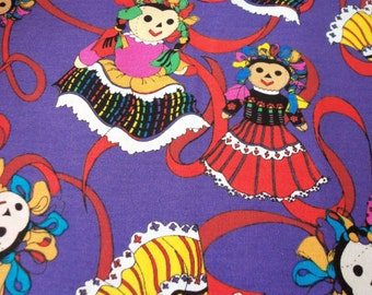 Mexican Folklorico Dancing Dolls Fabric Mexico Colorful Fat Quarter New BTFQ