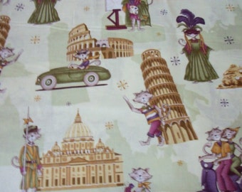 Traveling Cats Fabric Paws for Thought Purple Green Gold By The Fat Quarter New BTFQ