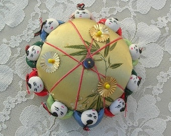 Adorable Chinese Pincushion, gold satin & tiny Chinese boys