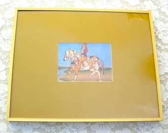 Framed Erotic Indian Horse Print, MATURE, traditional trick drawing, quality frame, no marks or damage