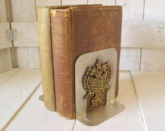 Vintage metal bookends crowned eagle family crest coat arms library style- free shipping US