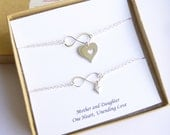 Sterling Silver Mother and Daughter Infinity Cut Out Heart Bracelet Set with Sentiment Card