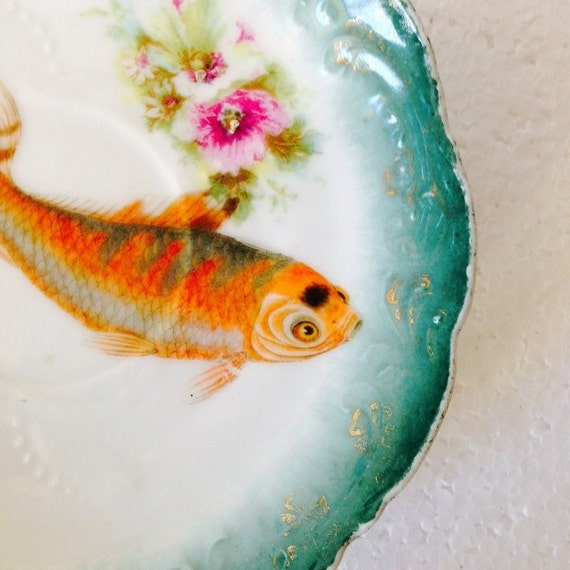 Orange koi carp fish vintage teal floral china saucer for Orange koi carp