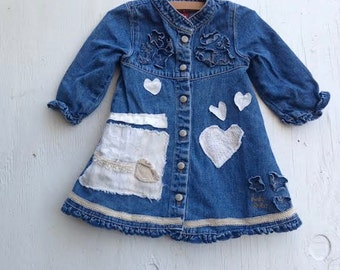 little denim dress 12 months baby guess shabby rustic  toddler prairie eco upcycled boho baby muslin lace dress