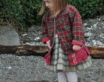 CUSTOM example winter holiday rose rustic Shabby Chic boho toddler vintage buttons dyed fabric chic jacket