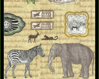 Decoupage Paper Napkins African Animals, four napkins