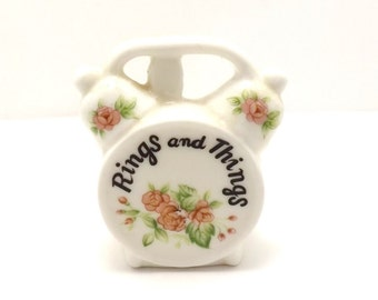 Vintage Antique Rings and things alarm clock jewelry tray, keeper for bedroom or kitchen or bathroom, great gift idea