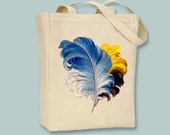 Colorful Vintage Feather Plumes Canvas Tote - Selection of sizes available