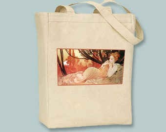 Reclining Woman, Alphonse Mucha Illustration Printed to Natural or Black canvas tote  - Selection of tote sizes available