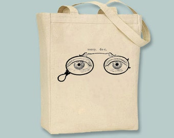 Steampunk Spectacles Eyeglasses Vintage llustration Canvas Tote  - Selection of sizes , ANY COLOR image