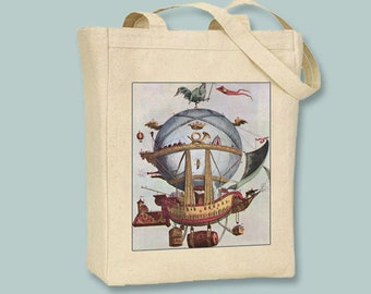 Vintage Steampunk Balloon Airship BLACK or NATURAL Canvas Tote - selection of sizes avaialble
