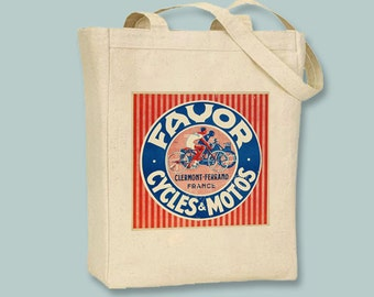 Vintage Favor Cycles French Poster Canvas Tote  - Selection of sizes available