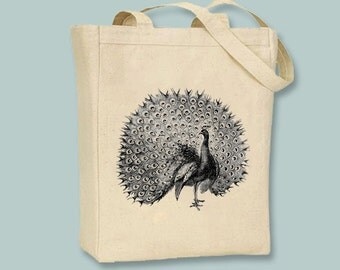 Detailed Vintage Peacock  Illustration Canvas Tote, image in ANY COLOR  - selection of sizes available