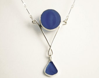 Genuine Cobalt Sea Glass Marble pendant necklace
