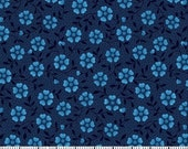 Navy Flower Fabric for MDG Fabrics/Floral Cotton Quilt Craft Apparel/Fabric by the Yard/Fabric by the Half Yard/Fat Quarter/PRICES Vary