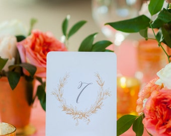 Romantic Gold and Silver Vintage Wedding Table Number Signs 1-20 - Metallic Paper Stock