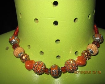 GORGEOUS Bold and Sassy Oranges,Light Red & Silver Mixed Media Necklace....hand made OOAK...1585h