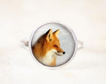 Red Fox Ring - Adjustable Animal Ring, Silver Animal Jewelry, Silver Fox Jewelry, Fox Profile, Woodland Ring, Woodland Jewelry Ring - Small