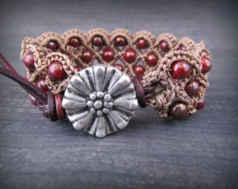 Bohemian Beaded Bracelet or Cuff, earthy brown and red, rustic flower button