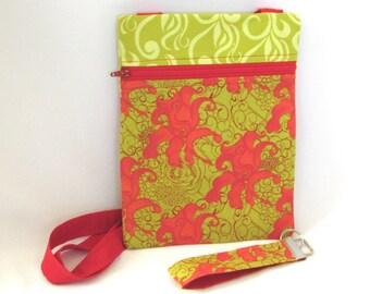 Floral Crossbody Bag, Handmade Purse, Key Fob, Zipper Purse, Flowers, Travel Purse, Hipster Handbag, Shoulder Bag