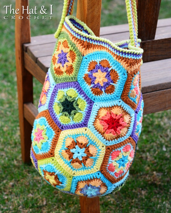 CROCHET PATTERN - Boho Bag - an african flower crochet bag ...