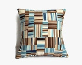 16x16 Geometric Design Pillow Cover In Teals/Browns/Beige