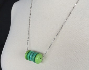 Green Disc Necklace