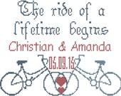 Bicycle Wedding Sampler Cross Stitch Pattern