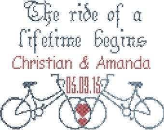 Bicycle Wedding Cross Stitch Pattern/Bicycle Cross Stitch Pattern/Wedding Cross Stitch Pattern/Ride of a Lifetime Begins/Cross Stitch PDF