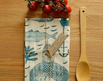 Seafarer Tea Towel: Hand screen printed in the UK