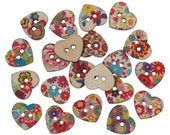"""25 Painted WOOD HEART BUTTONS  25mm, 1"""" for Scrapbooking . Beading . Sewing  but0229"""