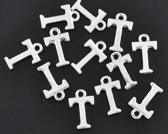 8 Letter T Alphabet Charms Silver Plated Monogram chs1601