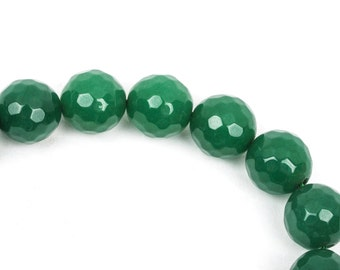6mm Round Faceted EMERALD GREEN JADE Gemstone Beads, full strand gjd0117