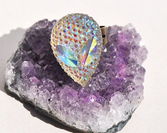 Crystal Alien Ring Aurora Iridescent Aliens Coachella Festival Fashion