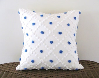 Blue polka dot pillow cover, ocean BLUE POPS cushion cover, patriotic pillow, 16 X 16 beach house seaside cottage chic nautical pillow