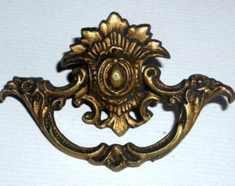 Antique French Provencial Drawer Pull Vintage Furniture Hardware Solid Cast Brass Signed and Numbered