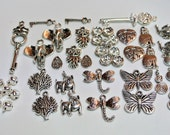 Clearance Sale! Tibetan silver charms, a great assorted collection, lots of great figures. New, 44 pieces