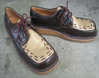 Vintage John Fluevogs Thick Gum Sole Men's Shoes with Stitching Labeled 240 Wagons
