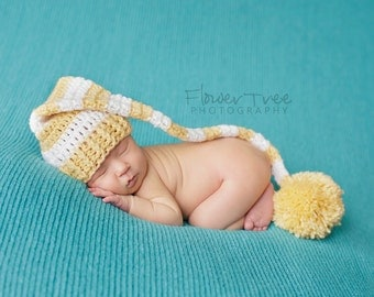 Newborn Elf Hat, Newborn Pom Pom Hat, Long Tail Hat, Sleepy Time Cap, Mr Sandman Hat, Newborn Stripe Hat, Crochet Infant Hat, Baby Elf Hat