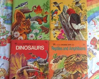 4 Vintage Golden Exploring Earth Books